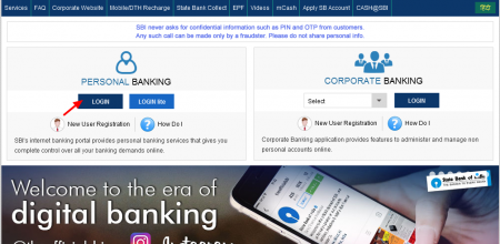State Bank of India Internet Banking website