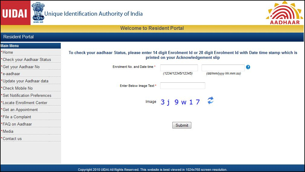 aadhaar status