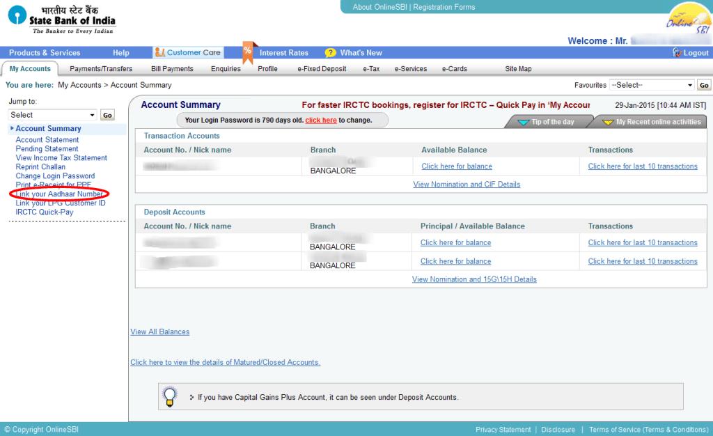 aadhaar sbi linking